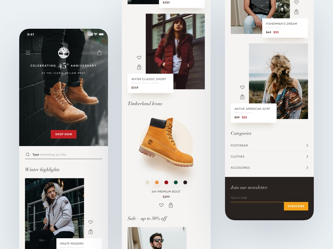 Timberland – E-Commerce concept, Home screen